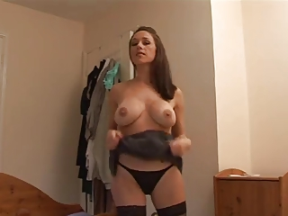 angry mom gives her boyfriend a harsh tugjob
