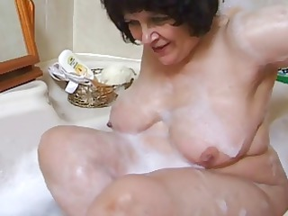 chubby grandma in bathroom