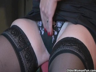 granny fun plays with her marital-device