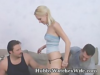 hubby watches wife acquire gangbanged