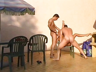 hot milf double screwed outdoors by two guys
