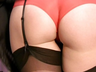 horny milf in stockings and pants plays solo