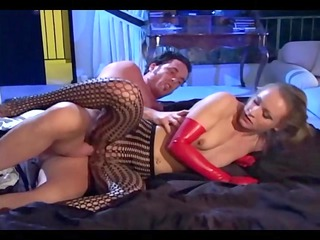 fucking in crotchless hose and red gloves