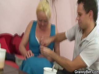 golden-haired granny gets her hairy pussy slammed