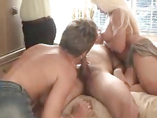 well used blondes copulates in a 9some 4