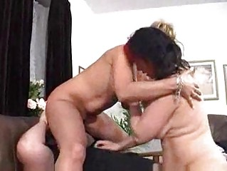 wife and her mommy slurp on hubbys bear pecker