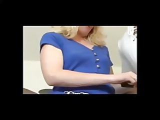 blond older takes cumshot with gum in your mouth