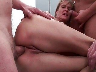 arse drilled older doxy receives five powerful