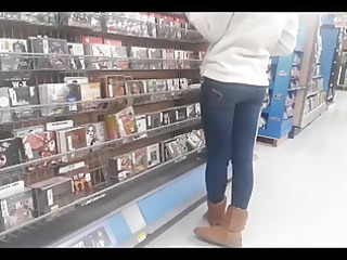 college girl in constricted jeans cd shopping
