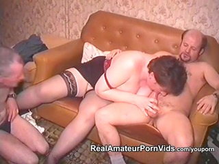 older plump housewife is drilled by males