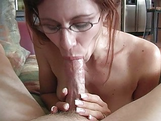 older redhead momma with glasses doing