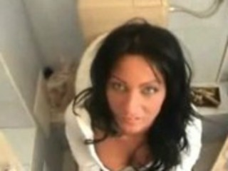 sexy mom gives heads on the toilet
