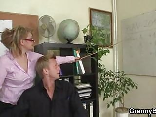 aged office boss forces him fuck her hard