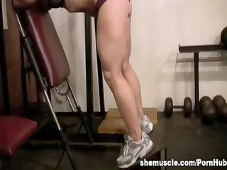 aged golden-haired works out her hot buff body at