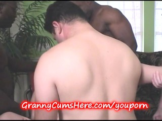 granny banged and young cutie sucks her clean