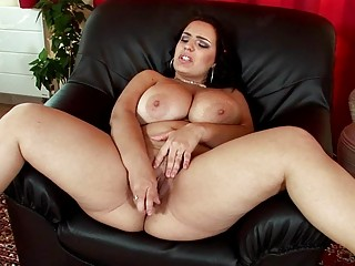 sinful brunette hair milf lady masturbates in