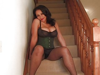 bawdy darksome haired momma in hot cirset and