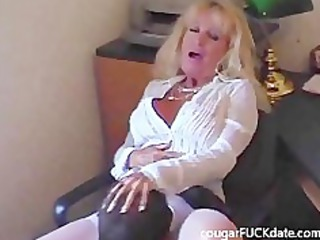 hawt granny cougar in nylons copulates a juvenile
