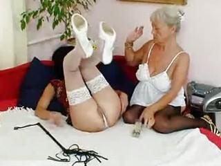 bushy granny licks hawt milf in lesbian action