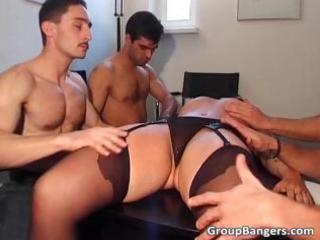 amateur gang group-sex party with three-some aged
