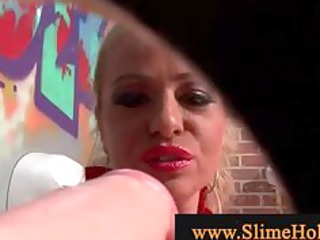 aged blonde playing with schlong acquires covered