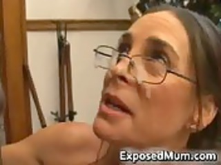 hot milf in glasses deepthroating darksome