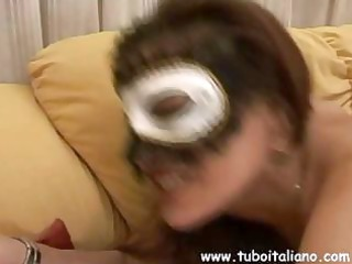 amateur breasty dark brown italian wife in a mask