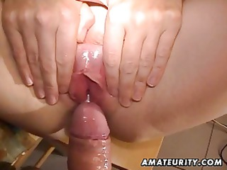 aged amateur wife toys, sucks and bonks with