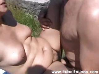 chubby italian brunette aged gets nailed and