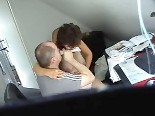 horny brunette hair secretary acquires caught on