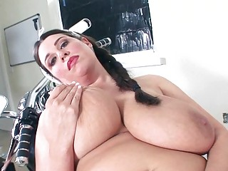 horny milf hottie shows off her mega sized juggs