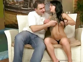 youthful brunette enjoys sex with grand-dad