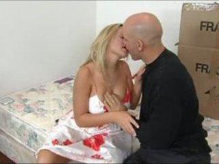 amazing blonde aged seducing her son's friend