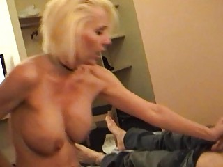 nasty blond momma in strap and nylons rides hard