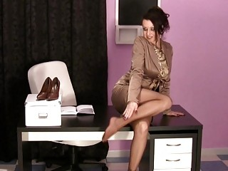 hawt milfs in the office wearing satin