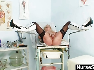 grandma in uniform widens blonde curly wet crack