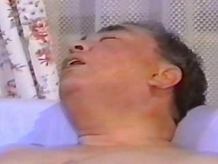 oriental aged chap masturbates on ottoman