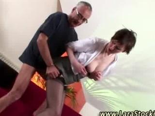 aged stocking brit oral pleasure and fuck