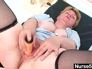 unpretty obese aged toys herself with gyno