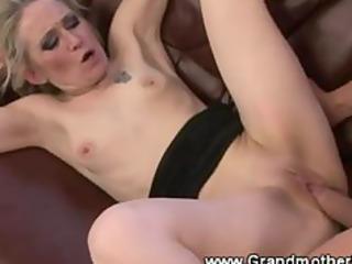 slutty granny enjoys a pussy slamming