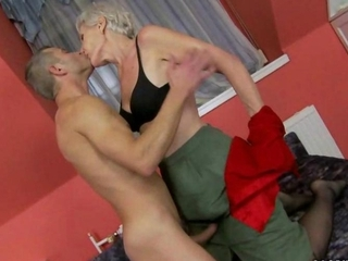 hot granny enjoys sex with young dude