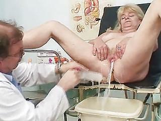 blond grandma perverted pussy exam with enema