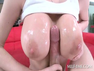 golden-haired weenie starved mama giving blow and