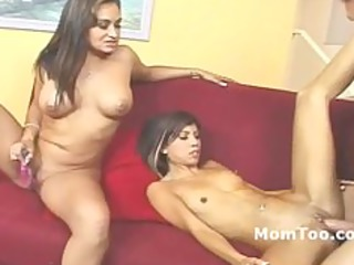 large tit mother and slim daughter fucked on a