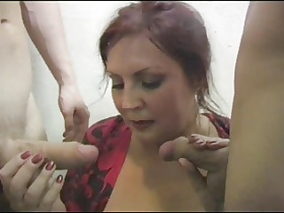 russian doxy bonks 8 cocks on the stairs (part4)