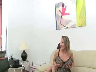 aged woman sex on leather sofa