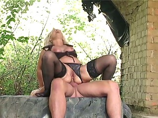 golden-haired granny gangbanged hard outdoors by