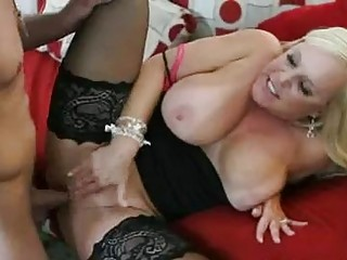 enormous chested blonde momma in stockings