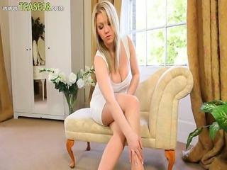 enjoyable blond bride teasing on ottoman