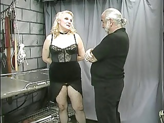 aged obese bondman teat clamped and teased